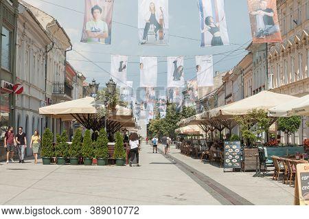 Novi Sad, Serbia - March 13, 2016: Zmaj Jovina Ulica Street,  The Main Pedestrian Street Of The City