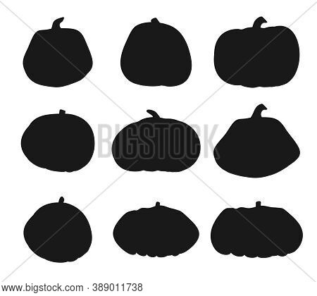 Set Of Autumn Pumpkin Black Silhouette Icon. Symbol Thanksgiving And Halloween Of Holiday In October