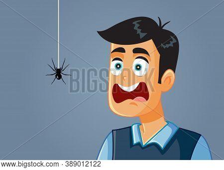 Scared Man Being Afraid Of A Spider Vector Cartoon