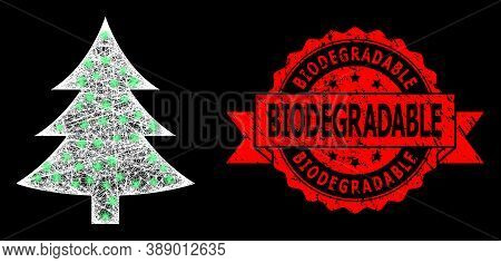 Glare Mesh Polygonal Fir Tree With Glowing Spots, And Biodegradable Corroded Ribbon Seal Imitation.