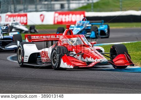 October 03, 2020 - Indianapolis, Indiana, USA: MARCUS ERICSSON (8) of Kumla, Sweden  races through the turns during the  race for the Harvest GP at Indianapolis Motor Speedway