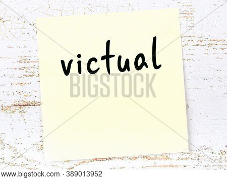 Concept Of Reminder About Victual. Yellow Sticky Sheet Of Paper On Wooden Wall With Inscription