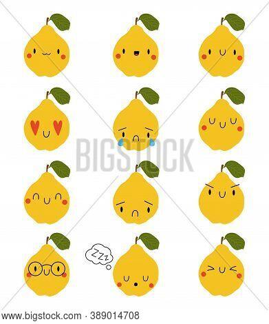 Set Kawaii Cartoon Quince. Vector Illustration Eps. Social Media Comment Reactions, Smile, Sad, Love