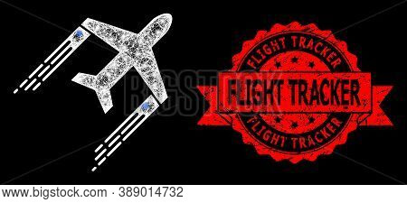 Glare Mesh Web Airplane Trail With Glowing Spots, And Flight Tracker Grunge Ribbon Stamp. Red Stamp