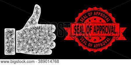 Glowing Mesh Polygonal Thumb Up With Light Spots, And Seal Of Approval Unclean Ribbon Stamp. Red Sta