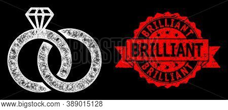 Glowing Mesh Polygonal Diamond Wedding Rings With Glowing Spots, And Brilliant Grunge Ribbon Stamp.