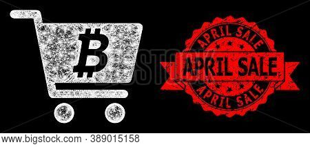 Glare Mesh Polygonal Bitcoin Webshop With Lightspots, And April Sale Scratched Ribbon Stamp Seal. Re