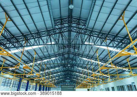 Warehouse Metal Roofing Of Car Showroom Large Steel Roof Structure Bottom View With Skylight Translu