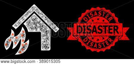 Glowing Mesh Network House Fire Disaster With Light Spots, And Disaster Dirty Ribbon Stamp Seal. Red