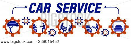 Stick Man, Repairman Repairs Car In Workshop. Maintenance Of Technical Condition Of Machine, Inspect