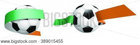 Balls For Soccer, Classic Football In Ribbons With Colors Of Ireland Flag. Design Element For Footba
