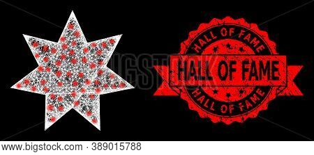 Glowing Mesh Polygonal Eight Corner Star With Glowing Spots, And Hall Of Fame Textured Ribbon Stamp