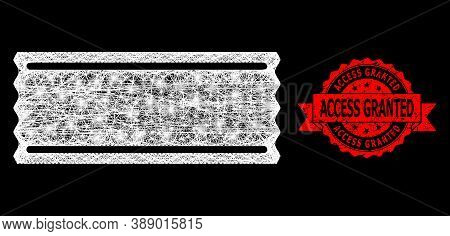 Shiny Mesh Web Ticket Template With Light Spots, And Access Granted Corroded Ribbon Stamp Seal. Red