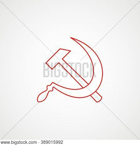Linear Icon Of Communism. Hammer With Sickle. Red Soviet Emblem. Minimalist Coat Of Arms Of The Ussr