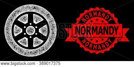 Bright Mesh Polygonal Car Wheel With Lightspots, And Normandy Scratched Ribbon Seal. Red Stamp Seal