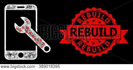 Glowing Mesh Net Smartphone Repair With Glowing Spots, And Rebuild Textured Ribbon Stamp. Red Stamp