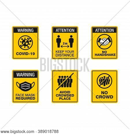 Vector Illustration Of Corona Virus Safety Tips And Precaution Sign. Suitable For Element Design Of