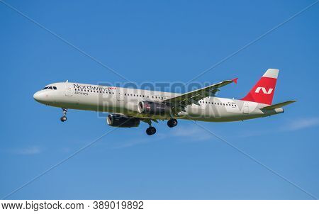 Saint Petersburg, Russia - August 08, 2020: Airbus A321-200 (vq-brl) Of The Nordwind Airline Close-u