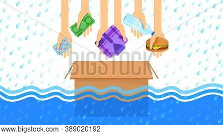 Donate Box For Flood, (money, Medicine, Drug, Clothing, Food And Drinking Water For Flooding Donate
