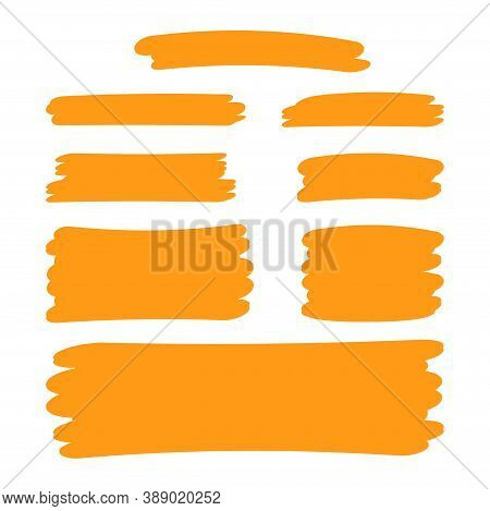 Orange Stripes Brush Paint For Scribble Marker, Brushstroke Painting Orange Pastel Soft Color, Orang