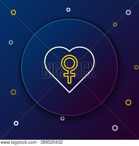 Line Heart With Female Gender Symbol Icon Isolated On Blue Background. Venus Symbol. The Symbol For