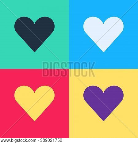 Pop Art Heart Icon Isolated On Color Background. Romantic Symbol Linked, Join, Passion And Wedding.