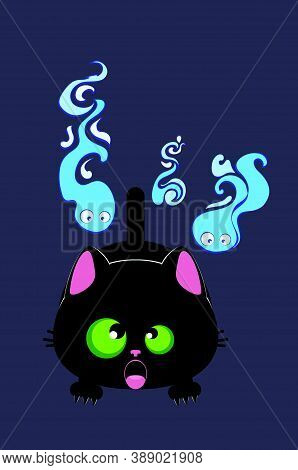 Cute Cartoon Frightened Black Cat And Ghost Wisps Background.