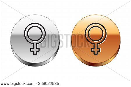 Black Line Female Gender Symbol Icon Isolated On White Background. Venus Symbol. The Symbol For A Fe
