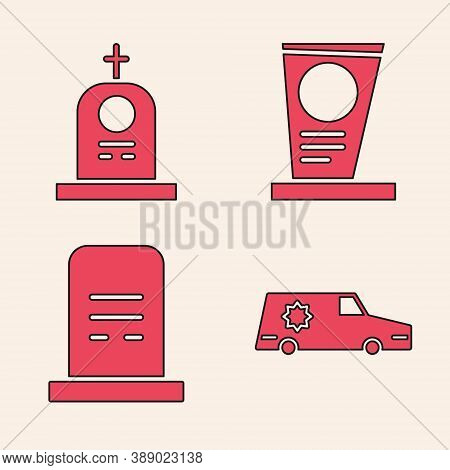 Set Hearse Car, Grave With Tombstone, Grave With Tombstone And Grave With Tombstone Icon. Vector