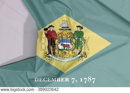 Delaware Fabric Flag Crepe And Crease With White Space, The States Of America. Yellow Diamond Shape