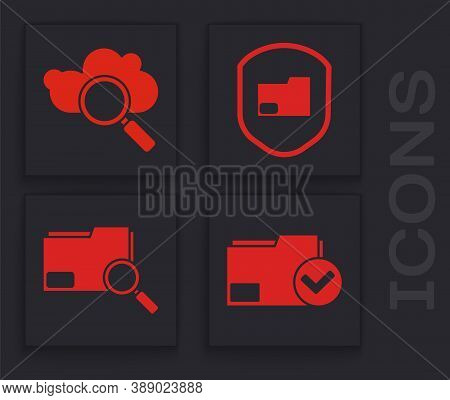 Set Document Folder And Check Mark, Search Cloud Computing, Document Folder Protection And Search Co