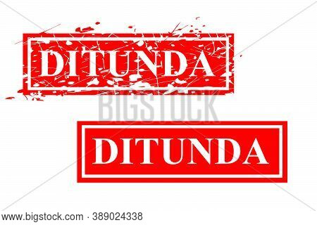 Red Rusty Vector Rubber Stamp Effect, Ditunda Or Cancel In Indonesia Language.