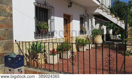 Terrace With Large Flower Containers In Andalusian Village