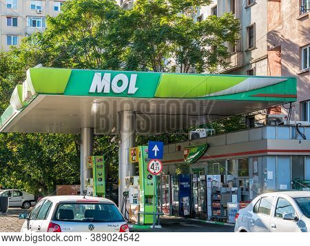 Bucharest/romania - 09.27.2020: Mol Fuel Station In Bucharest. Mol Group International Oil And Gas C