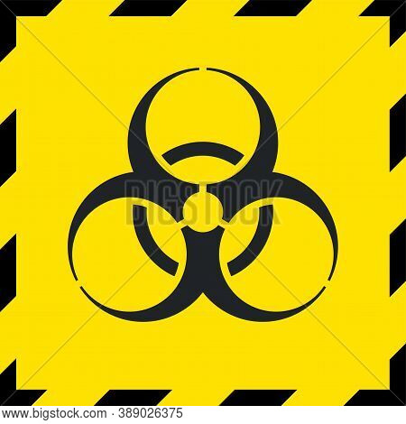 Caution Biohazard Sign, Biological Threat Alert, Graphic Design Element Isolated On Yellow Backgroun