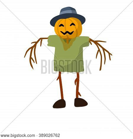 Scarecrow With A Pumpkin Head. Funny Bogeyman With Hat. A Fabulous Halloween Character. Flat Cartoon