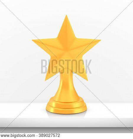 Winner Star Cup Award, Golden Trophy Logo Isolated On White Shelf Table Background, Photo Realistic