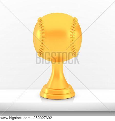 Winner Baseball Cup Award, Golden Trophy Logo Isolated On White Shelf Table Background, Photo Realis