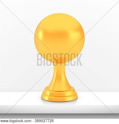 Winner Sphere Cup Award, Golden Trophy Logo Isolated On White Shelf Table Background, Photo Realisti