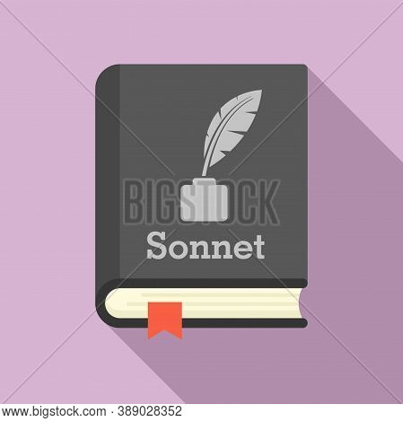Literary Sonnet Book Icon. Flat Illustration Of Literary Sonnet Book Vector Icon For Web Design
