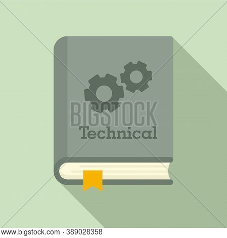 Technical Book Icon. Flat Illustration Of Technical Book Vector Icon For Web Design