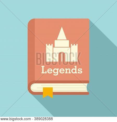 Castle Legends Book Icon. Flat Illustration Of Castle Legends Book Vector Icon For Web Design
