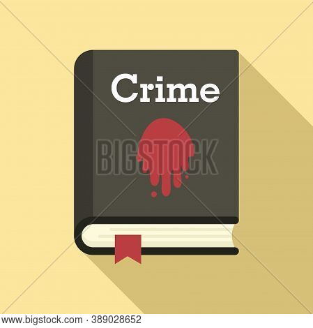 Crime Book Icon. Flat Illustration Of Crime Book Vector Icon For Web Design