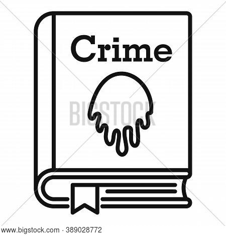 Crime Book Icon. Outline Crime Book Vector Icon For Web Design Isolated On White Background