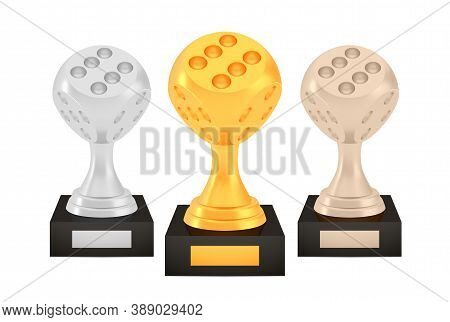Winner Dice Awards Set, Gold Silver Bronze Trophy Cups On Stands With Empty Plates, Three Logo Icons