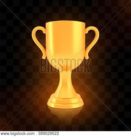 Winner Cup Award, Golden Trophy Logo Isolated On Black Transparent Background, Photo Realistic Vecto