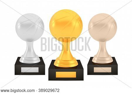 Winner Basketball Awards Set, Gold Silver Bronze Trophy Cups On Stands With Empty Plates, Three Logo