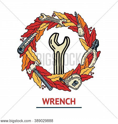 Old School Builder Vector Illustration With Wrench With Outline And Geometric Diverging Beams In Yel