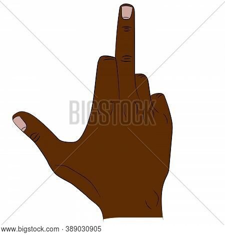 Isolated Thumb And Middle Finger Of The Hand Raised Up That Shows Fuck.