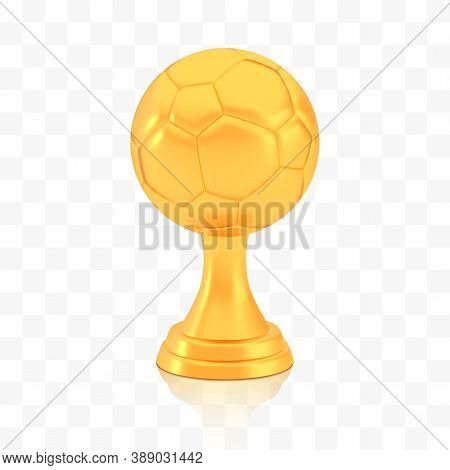Winner Football Cup Award, Golden Trophy Logo Isolated On White Transparent Background, Photo Realis